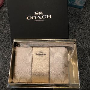NWT Gold Coach Wristlet in Gift Box